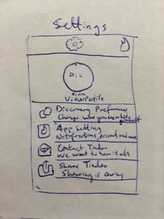 Sketch of Tinder Settings Page