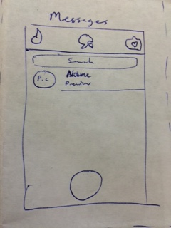 Sketch of Tinder Messages Page
