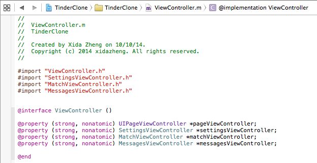 ViewController.h inheriting from UIViewController